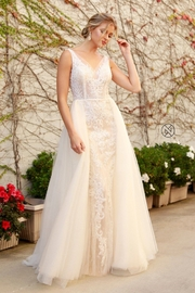 NOX A N A B E L Nude & White Beaded Bridal Gown With Organza Train - Product Mini Image