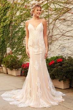 NOX A N A B E L Nude & White Lace Fit & Flare Bridal Gown - Product List Image