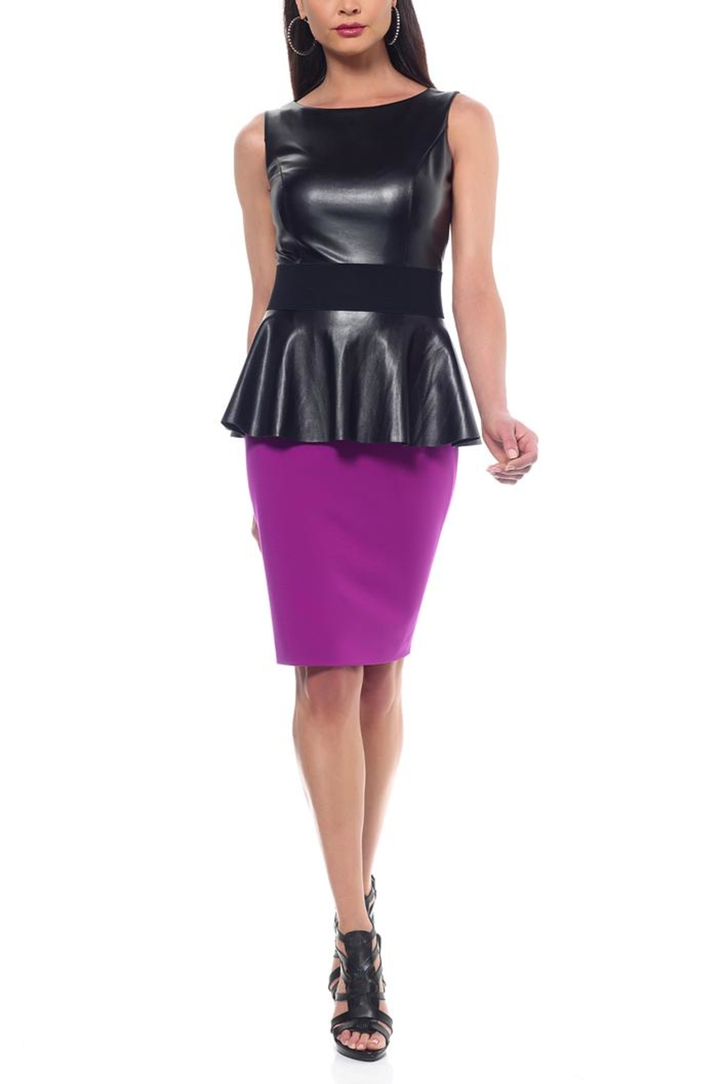 Nue by Shani Leather Peplum Dress - Main Image