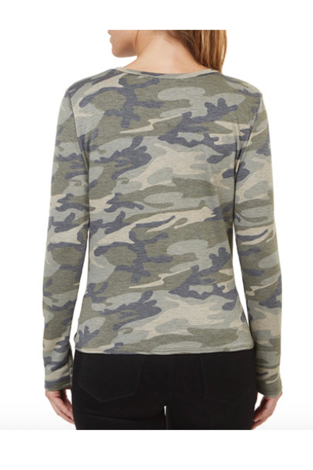 Numero Denim Camo Twisted Knot Top - Front Full Image