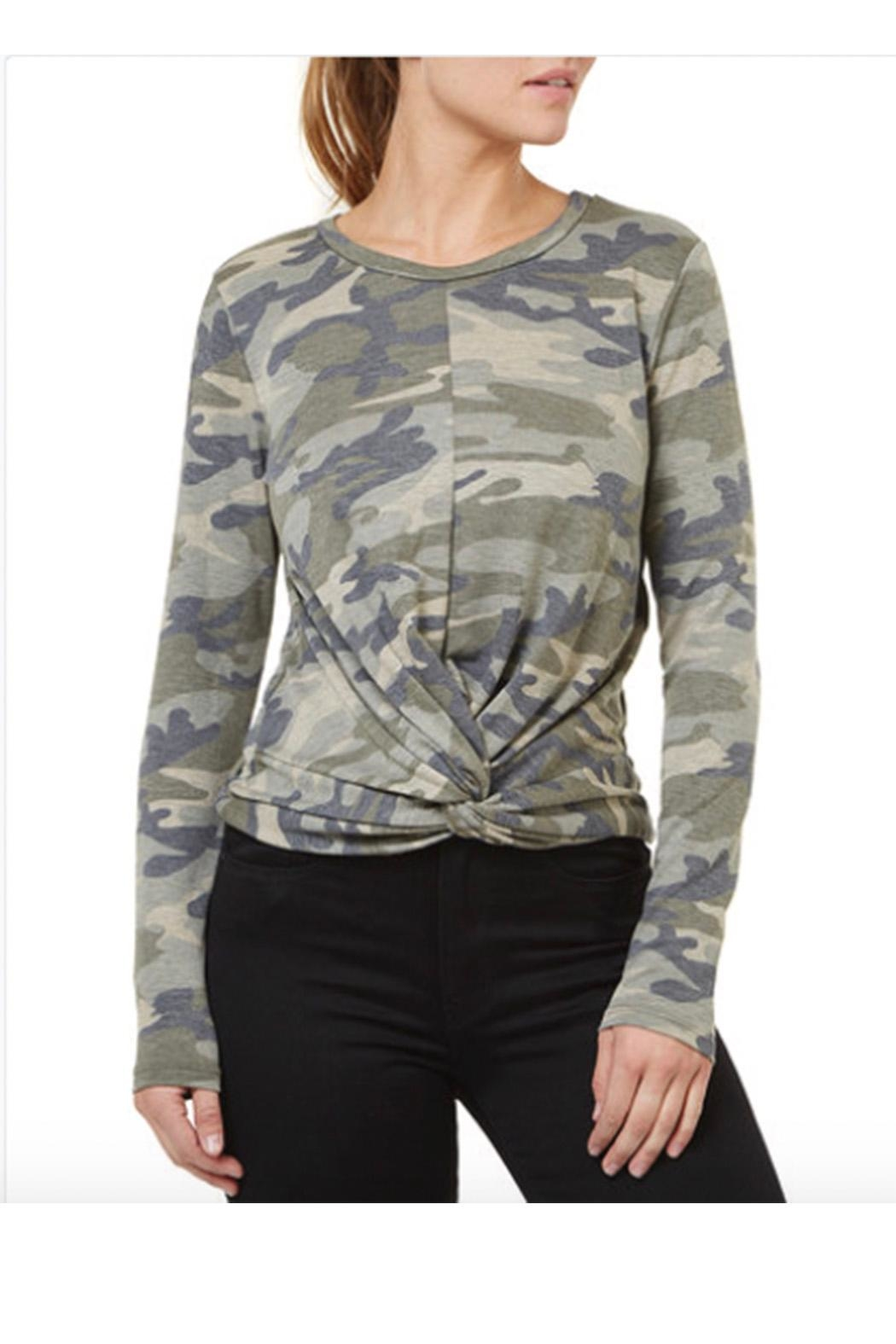Numero Denim Camo Twisted Knot Top - Front Cropped Image