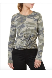 Numero Denim Camo Twisted Knot Top - Front cropped