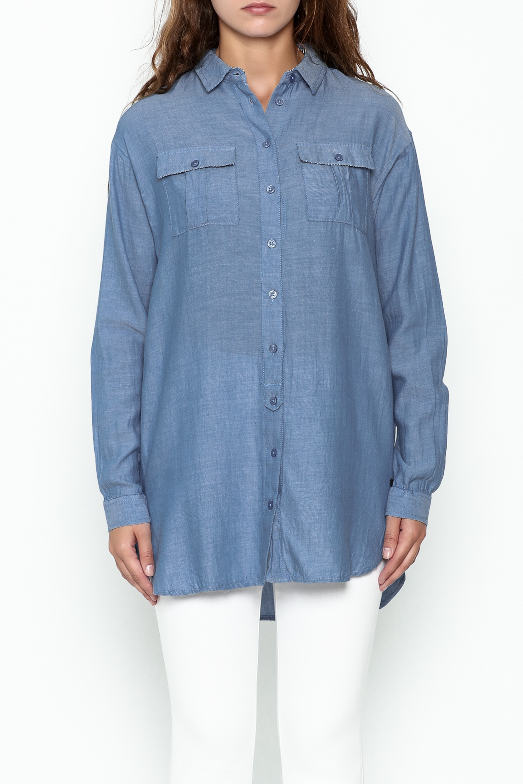 Numph Chambray Button Tunic - Front Full Image