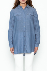 Numph Chambray Button Tunic - Front full body