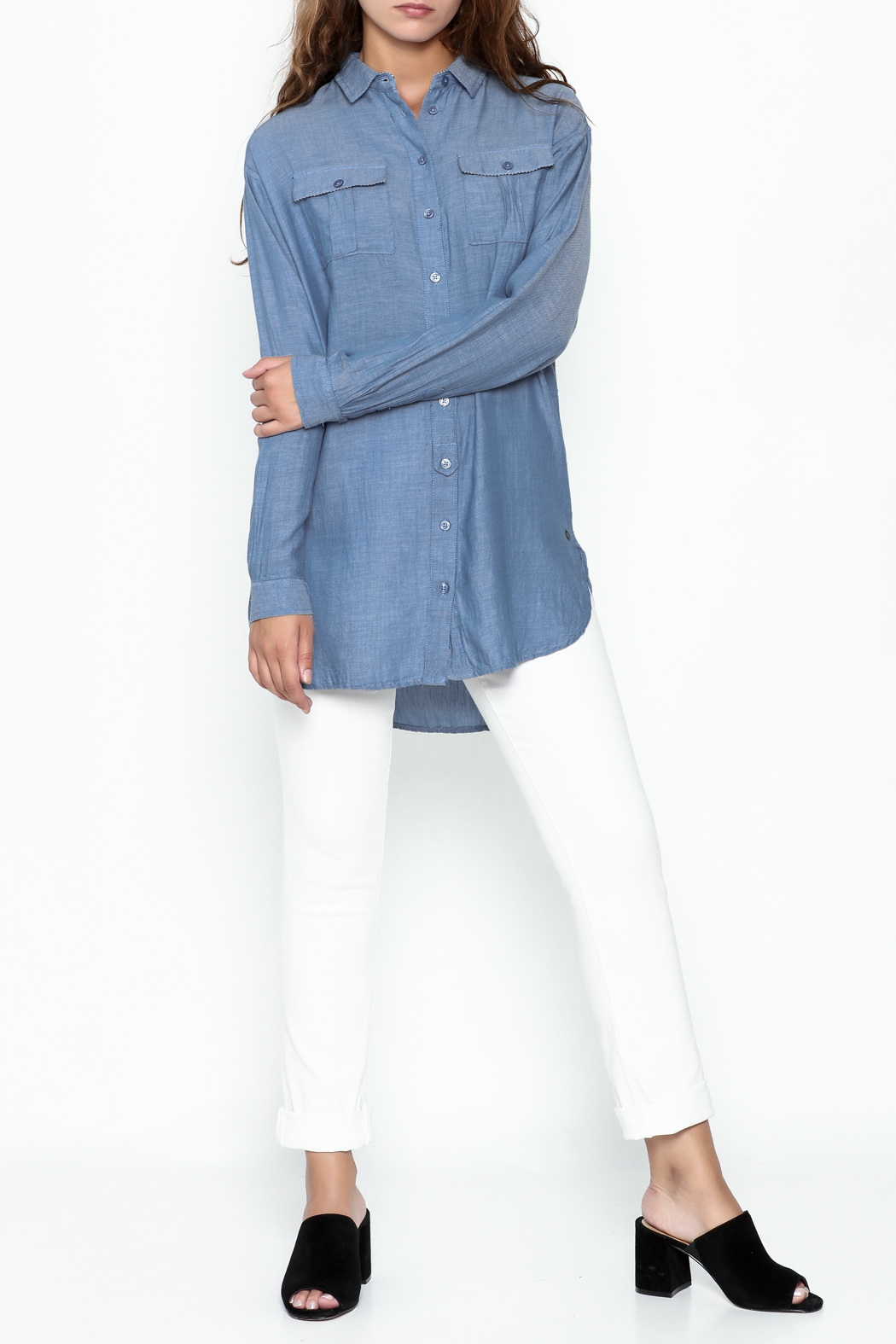Numph Chambray Button Tunic - Side Cropped Image