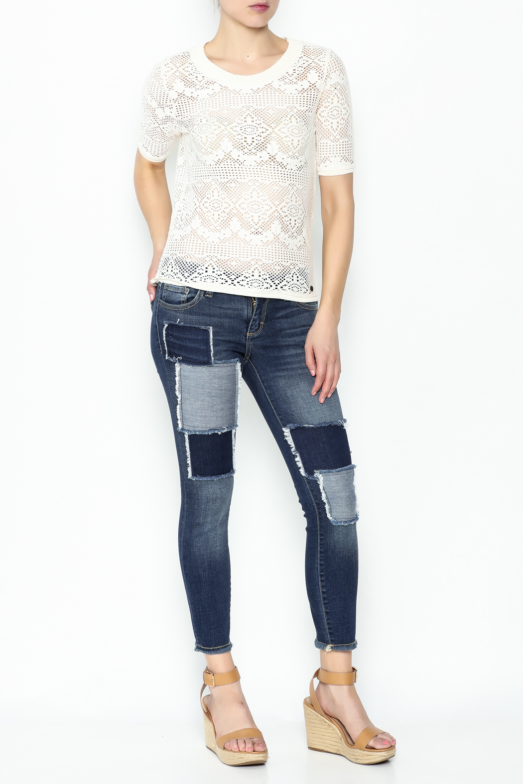 Numph Lace Sweater Shirt - Side Cropped Image