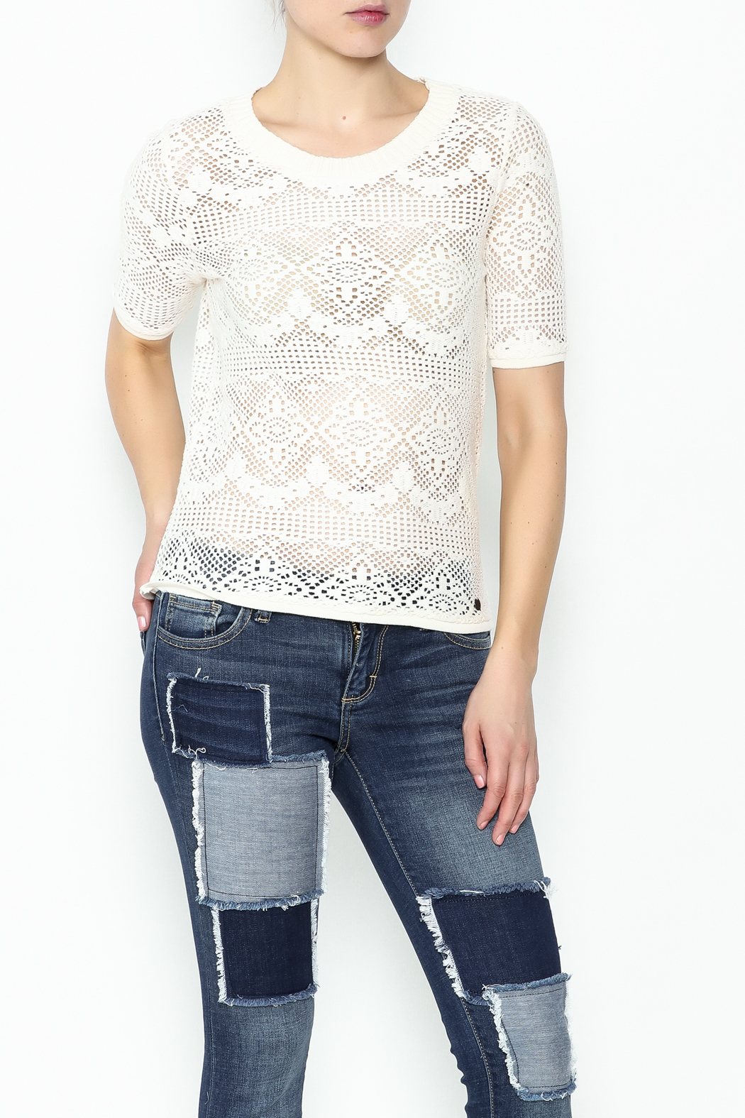Numph Lace Sweater Shirt - Main Image