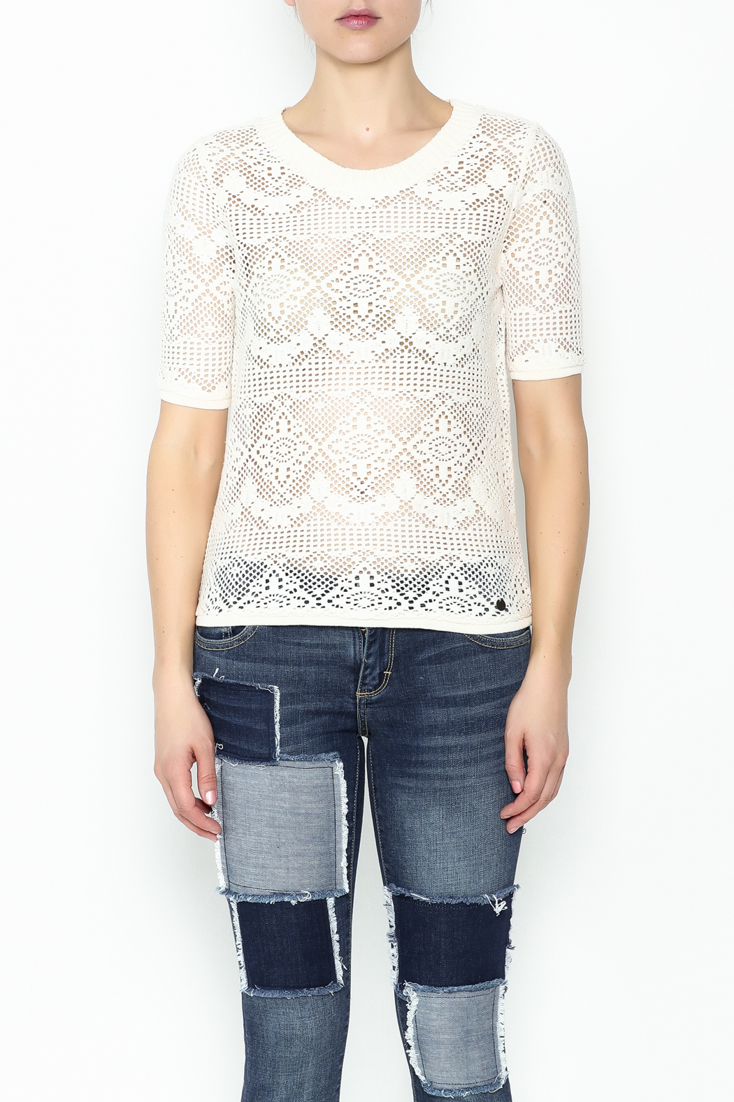 Numph Lace Sweater Shirt - Front Full Image