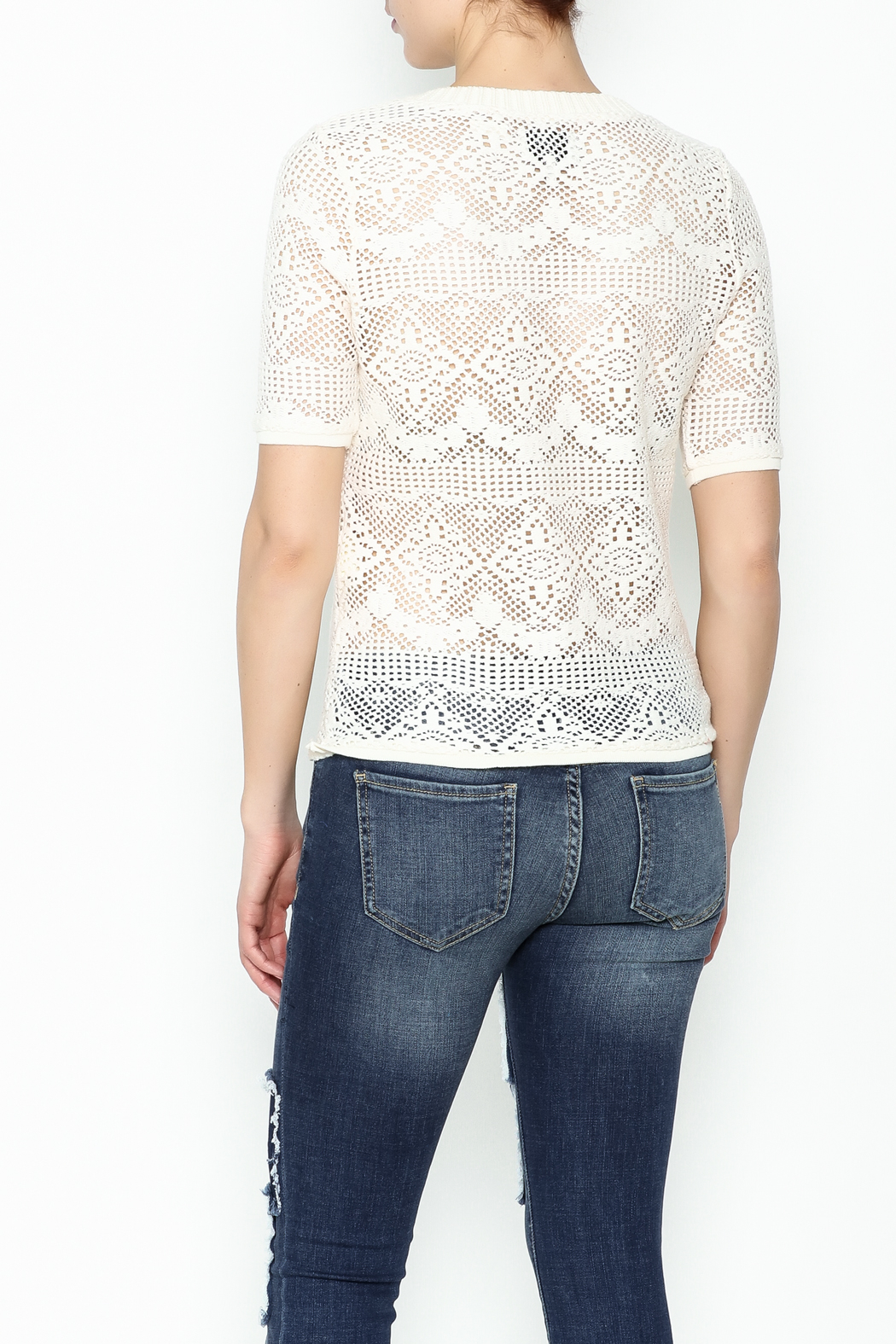 Numph Lace Sweater Shirt - Back Cropped Image
