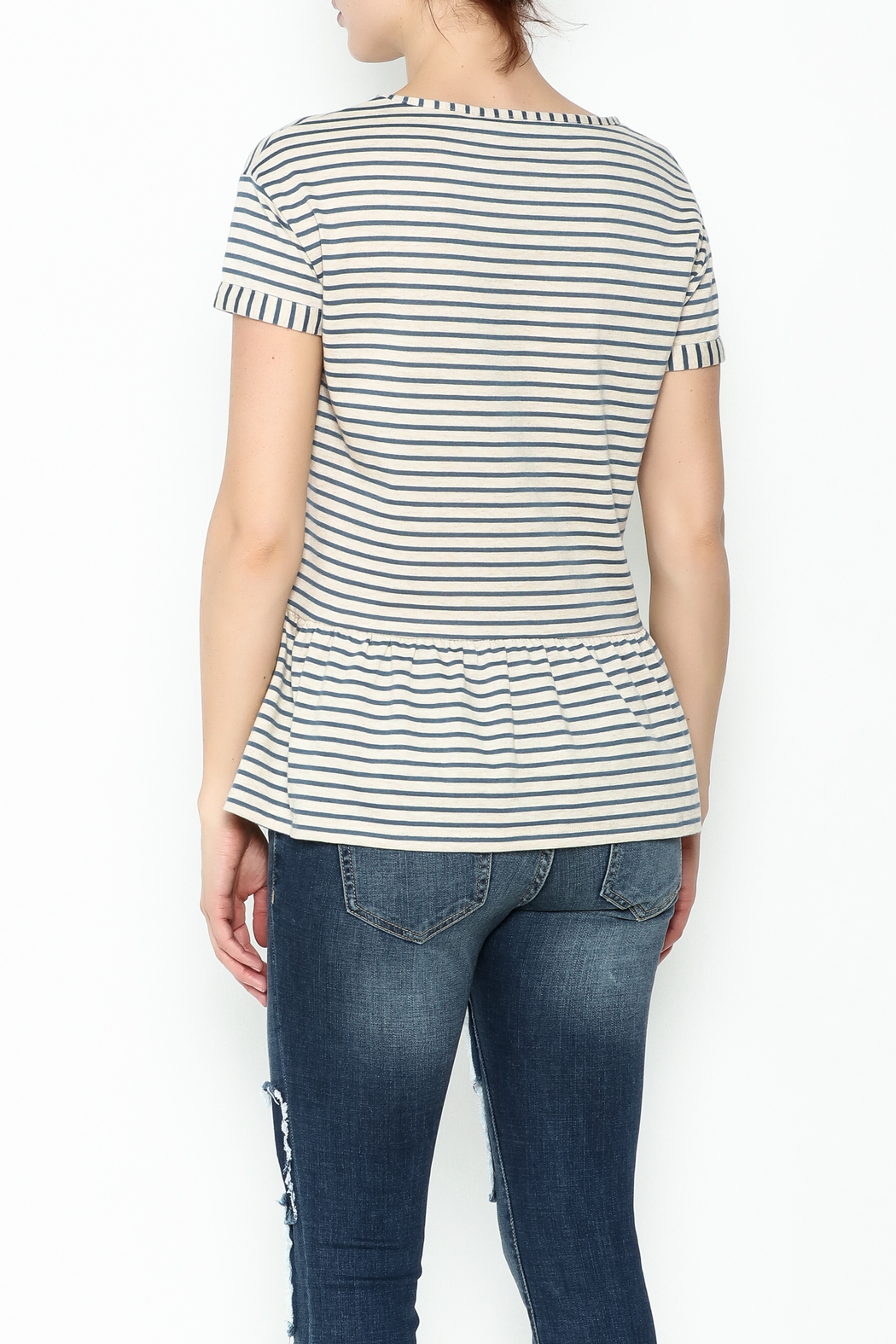 Numph Striped Peplum Top - Back Cropped Image