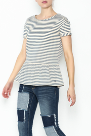 Numph Striped Peplum Top - Front cropped