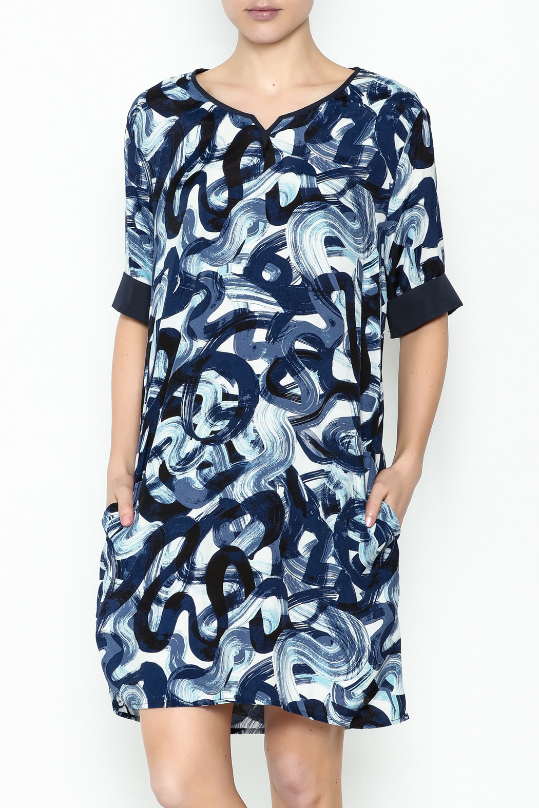Numph Watercolor Shift Dress - Front Cropped Image