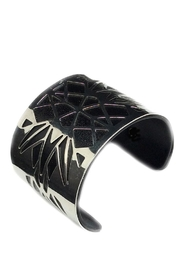 NuraBella Black Silver Wide Cuff - Front full body