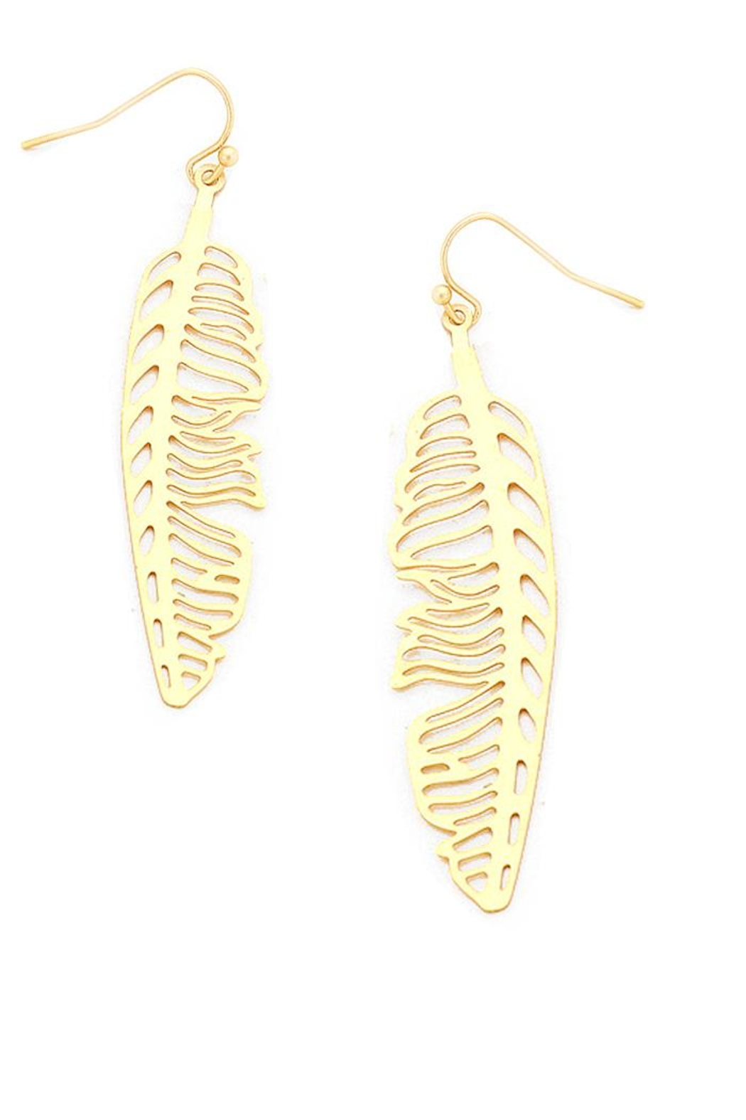 NuraBella Gold Leave Light Earrings - Front Cropped Image