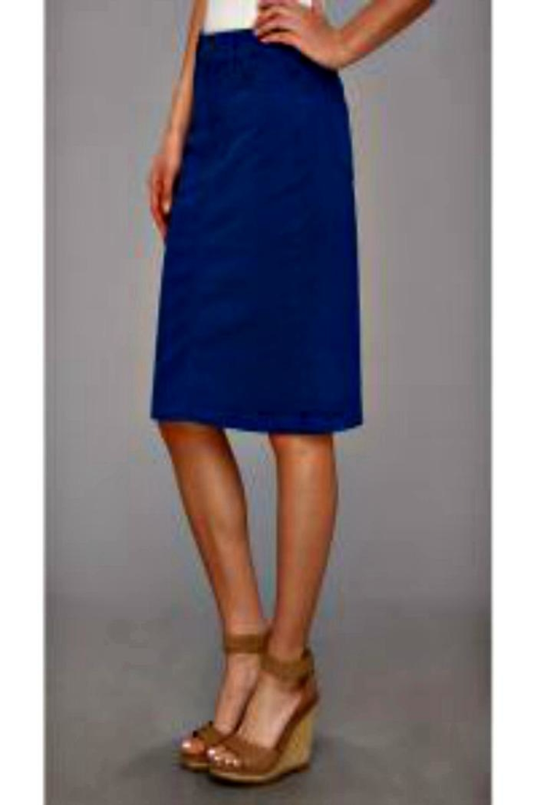 NYDJ Blue Twill Skirt - Front Cropped Image