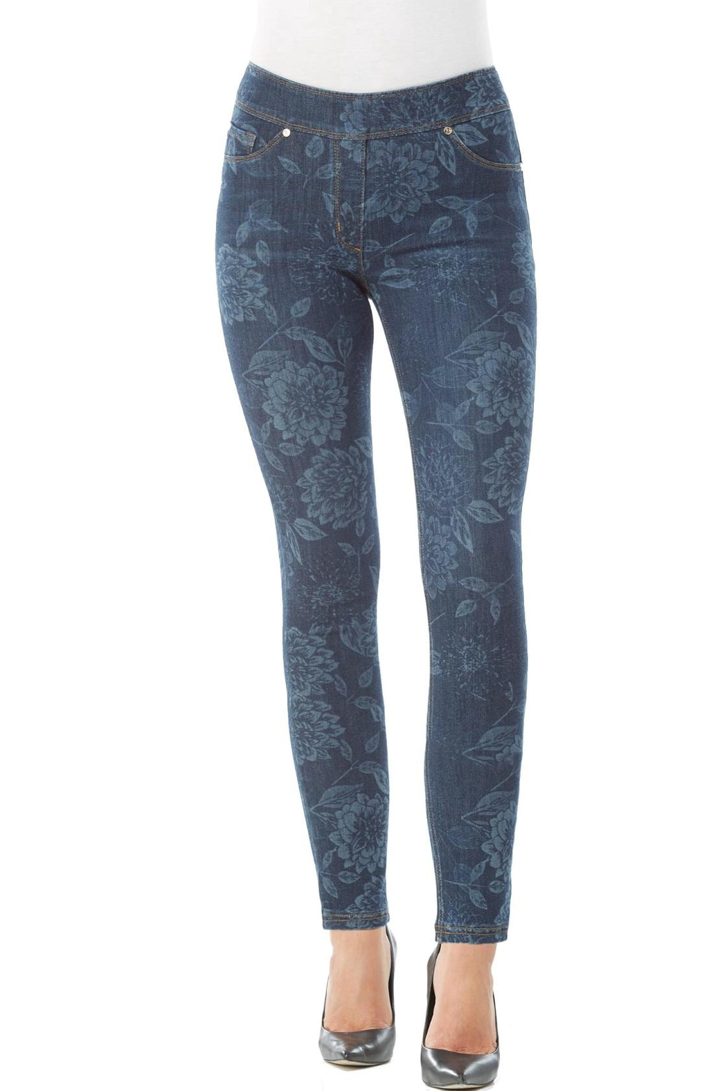Nygard Floral Print Jeans - Front Cropped Image