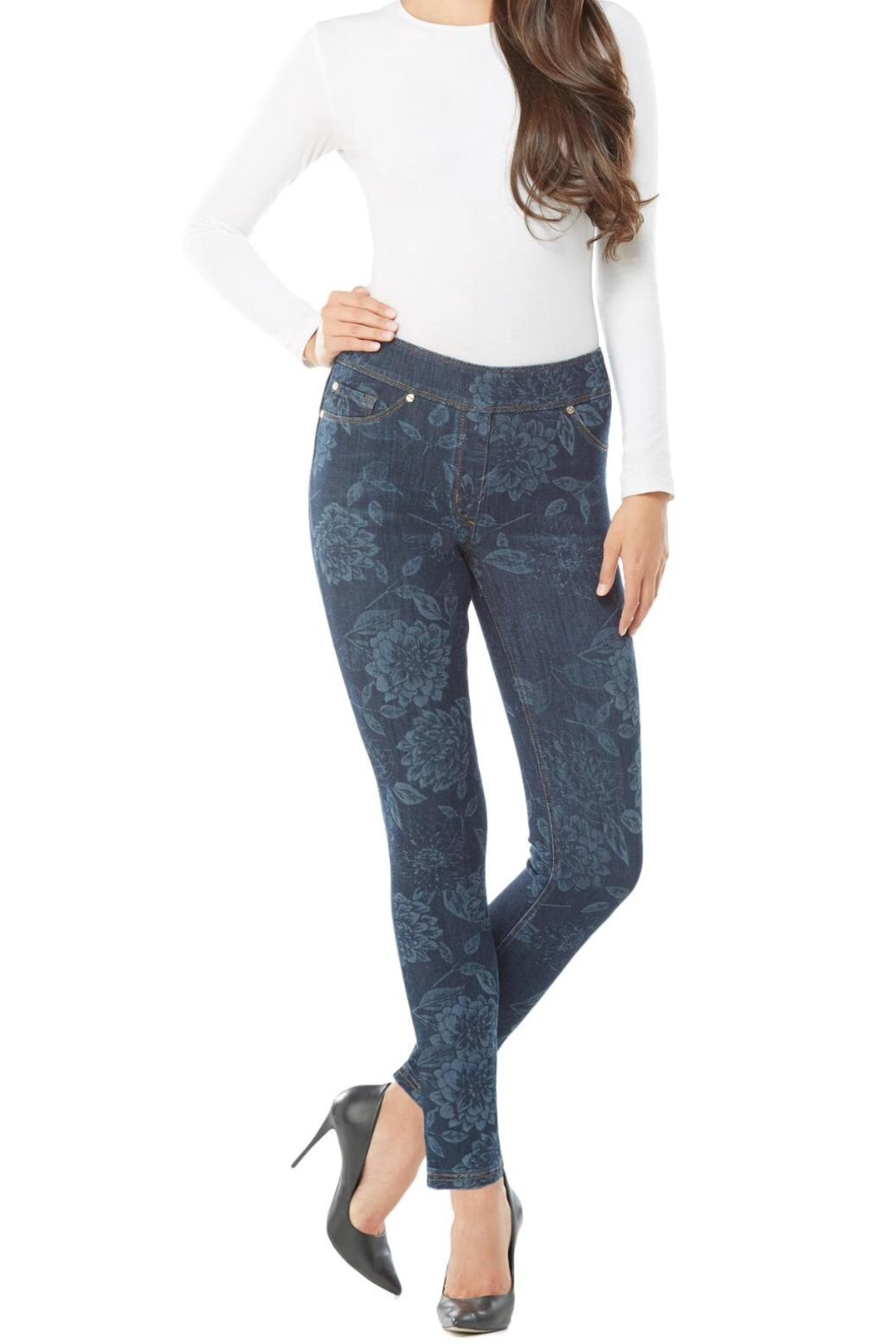 Nygard Floral Print Jeans - Back Cropped Image
