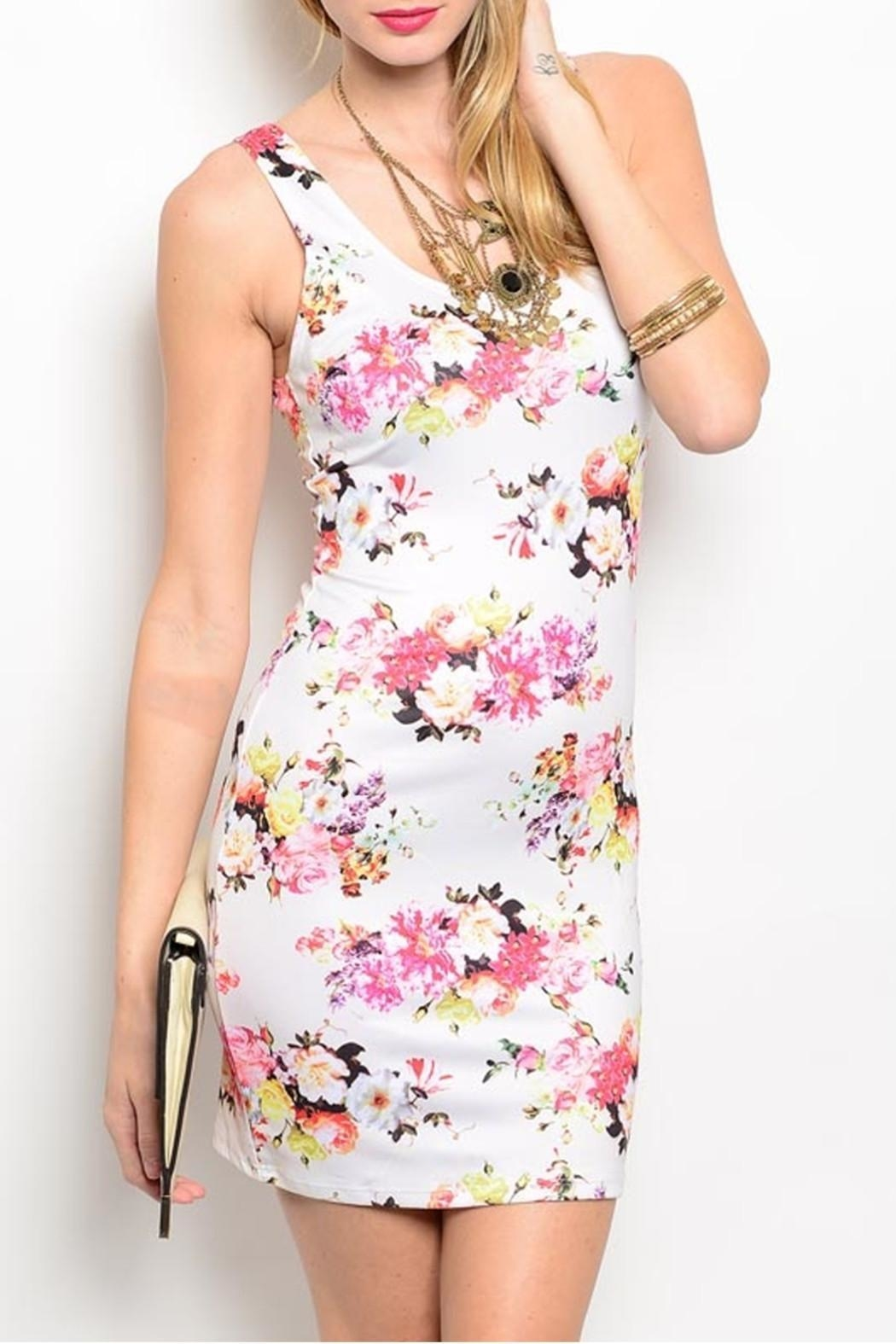 Nylon Apparel Ivory Floral Dress - Front Cropped Image