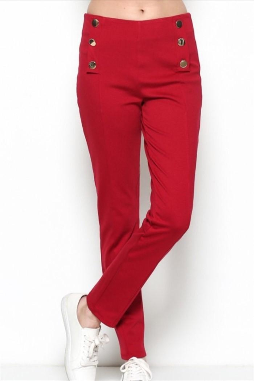 Nylon Apparel Red Button Pants - Main Image