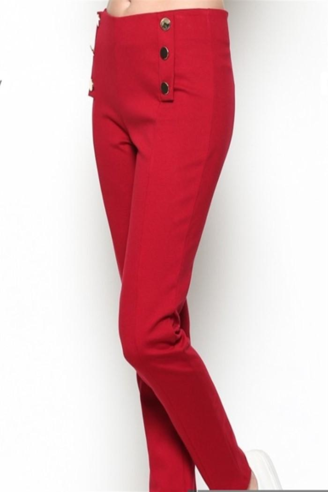 Nylon Apparel Red Button Pants - Front Full Image