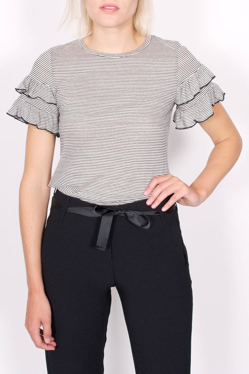 NYTT Ruffle Striped Tee - Front Cropped Image
