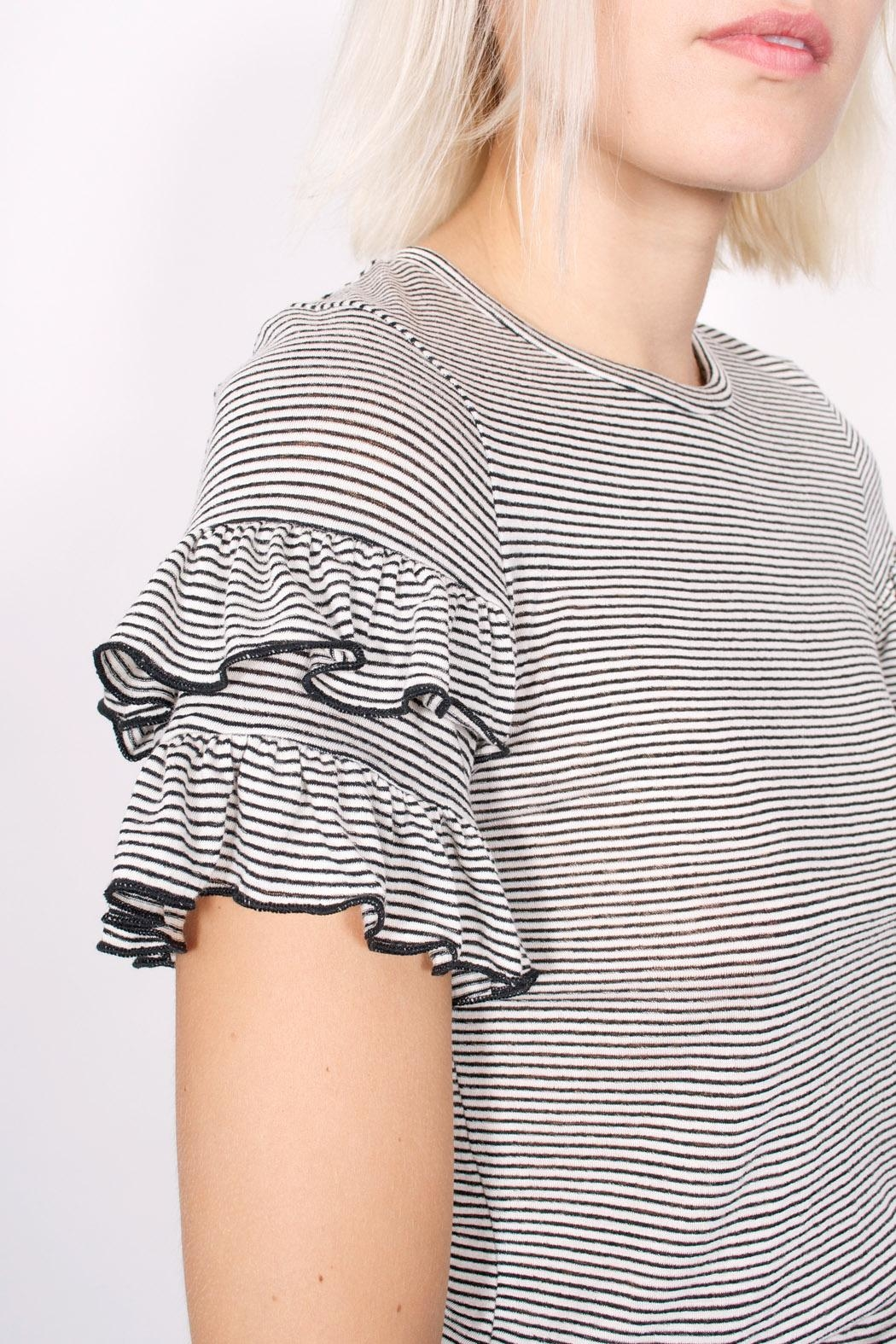 NYTT Ruffle Striped Tee - Back Cropped Image