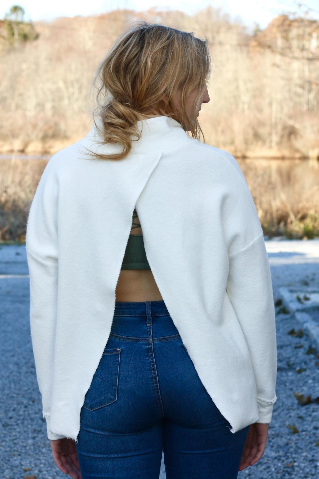 NYTT White Open-Back Sweater - Front Cropped Image