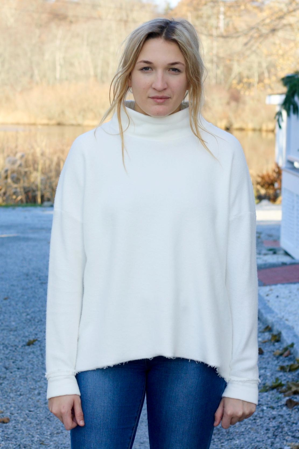 NYTT White Open-Back Sweater - Front Full Image