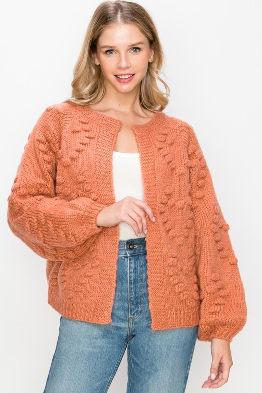 O'LOLA Heart Pompom Chunky Sweater Knit Cardigan - Front Cropped Image