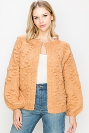 O'LOLA Heart Pompom Chunky Sweater Knit Cardigan - Front cropped