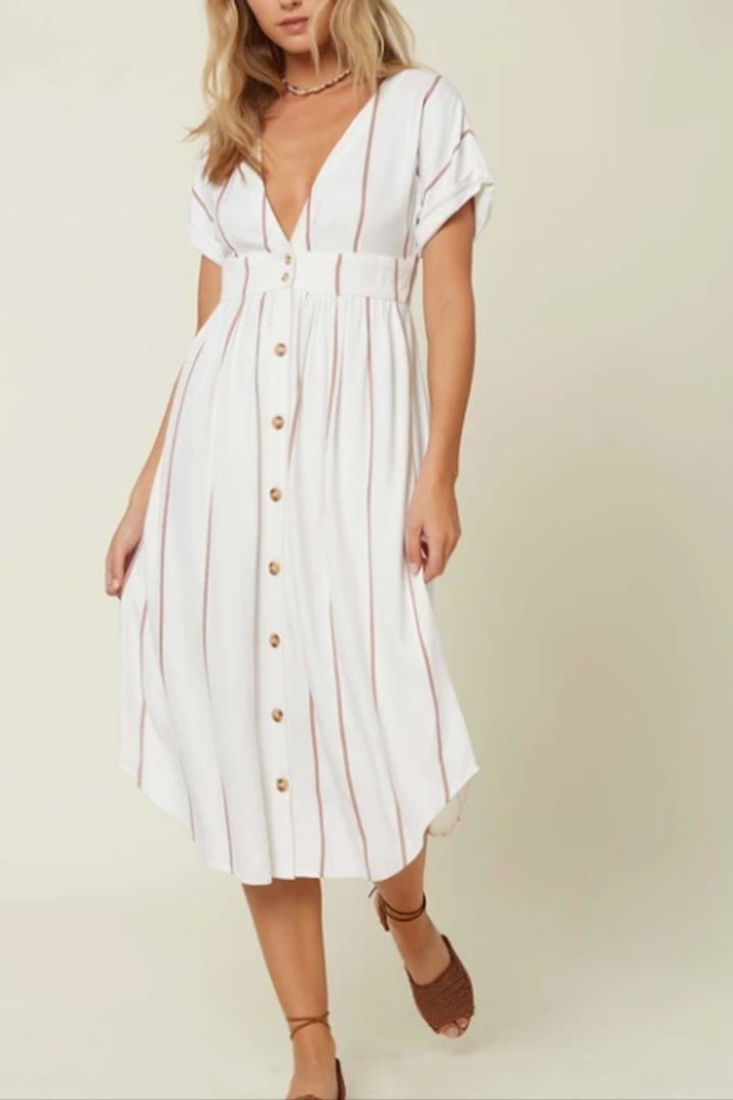 O'Neill Button-Front Stripe Dress - Main Image
