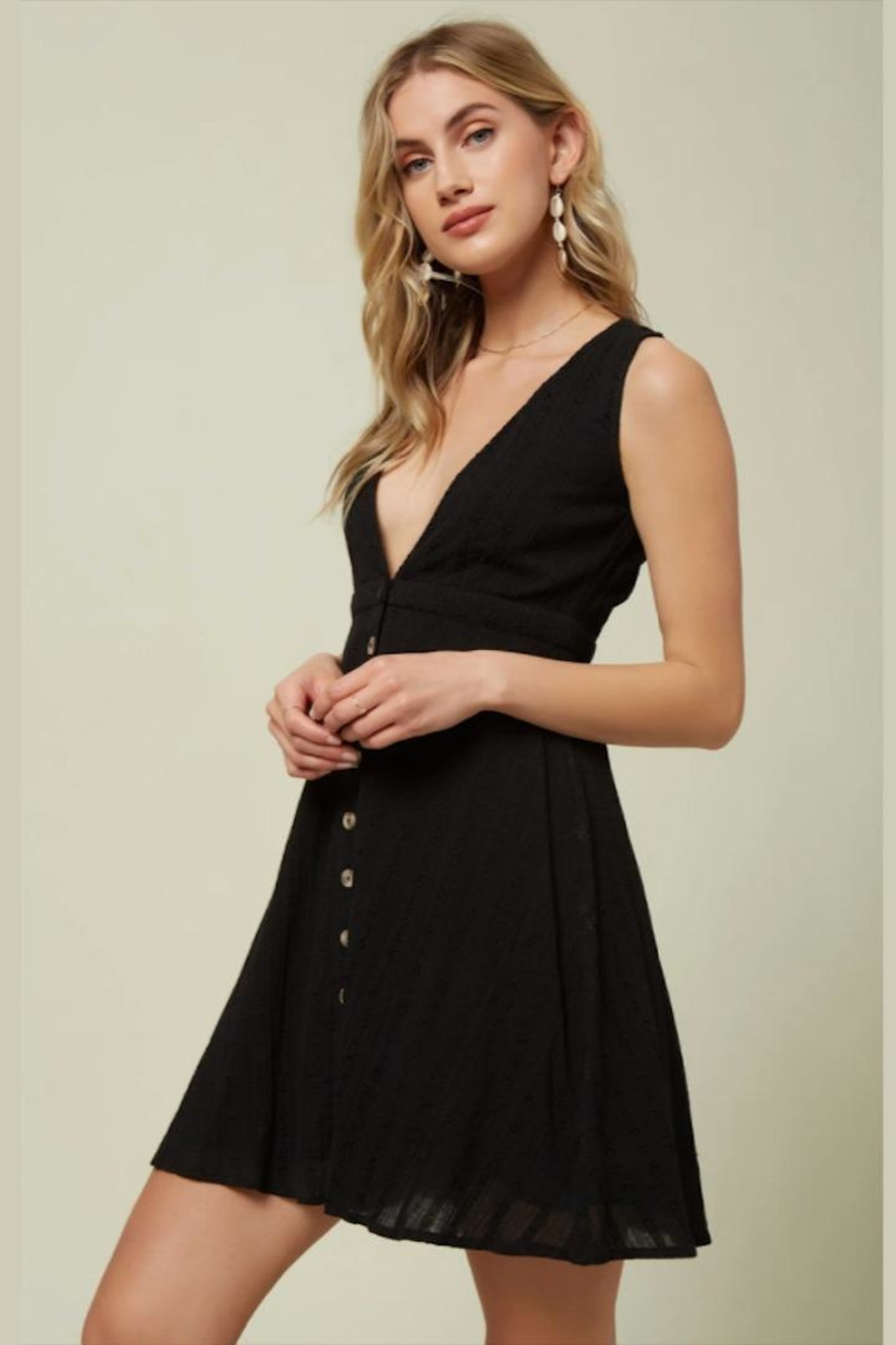O'Neill Deep-V Button-Front Dress - Front Full Image