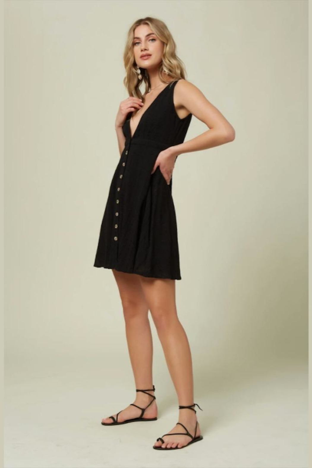 O'Neill Deep-V Button-Front Dress - Back Cropped Image