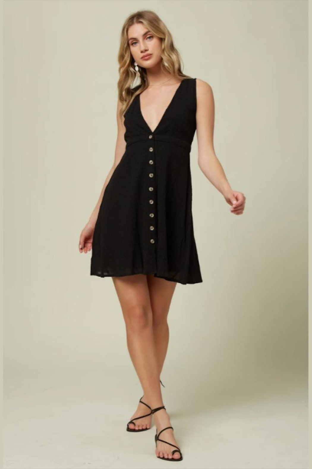 O'Neill Deep-V Button-Front Dress - Side Cropped Image