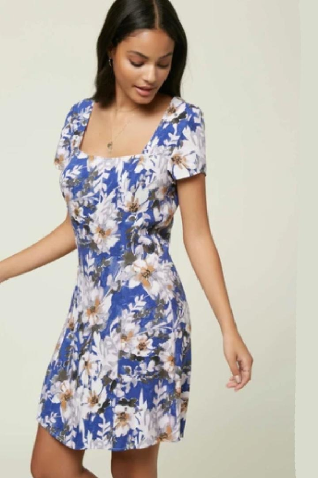 O'Neill Floral Cap-Sleeve Dress - Side Cropped Image