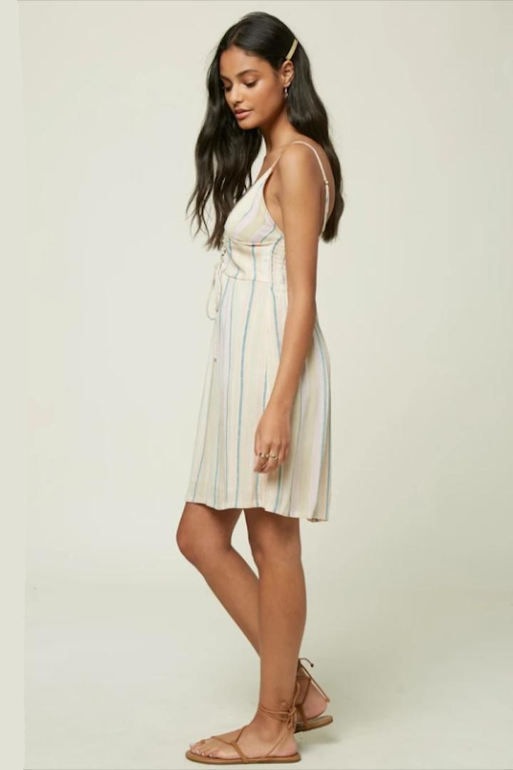 O'Neill Stripe Lace-Up Dress - Front Full Image