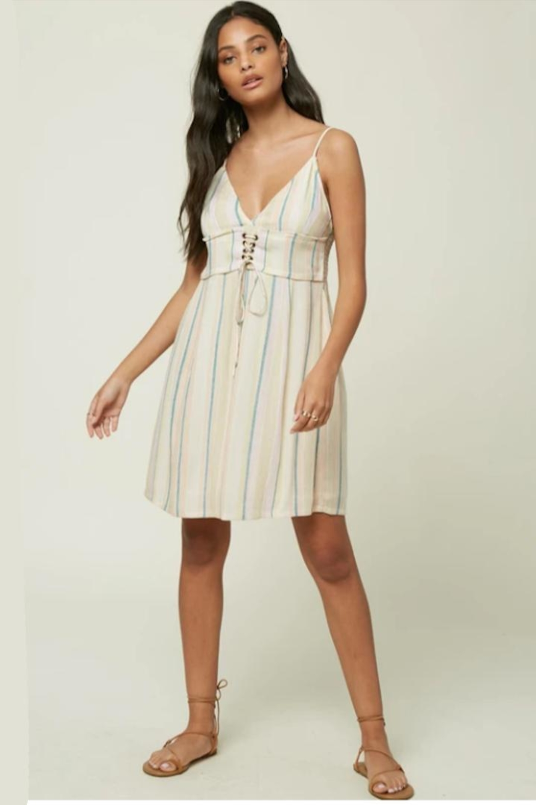 O'Neill Stripe Lace-Up Dress - Main Image