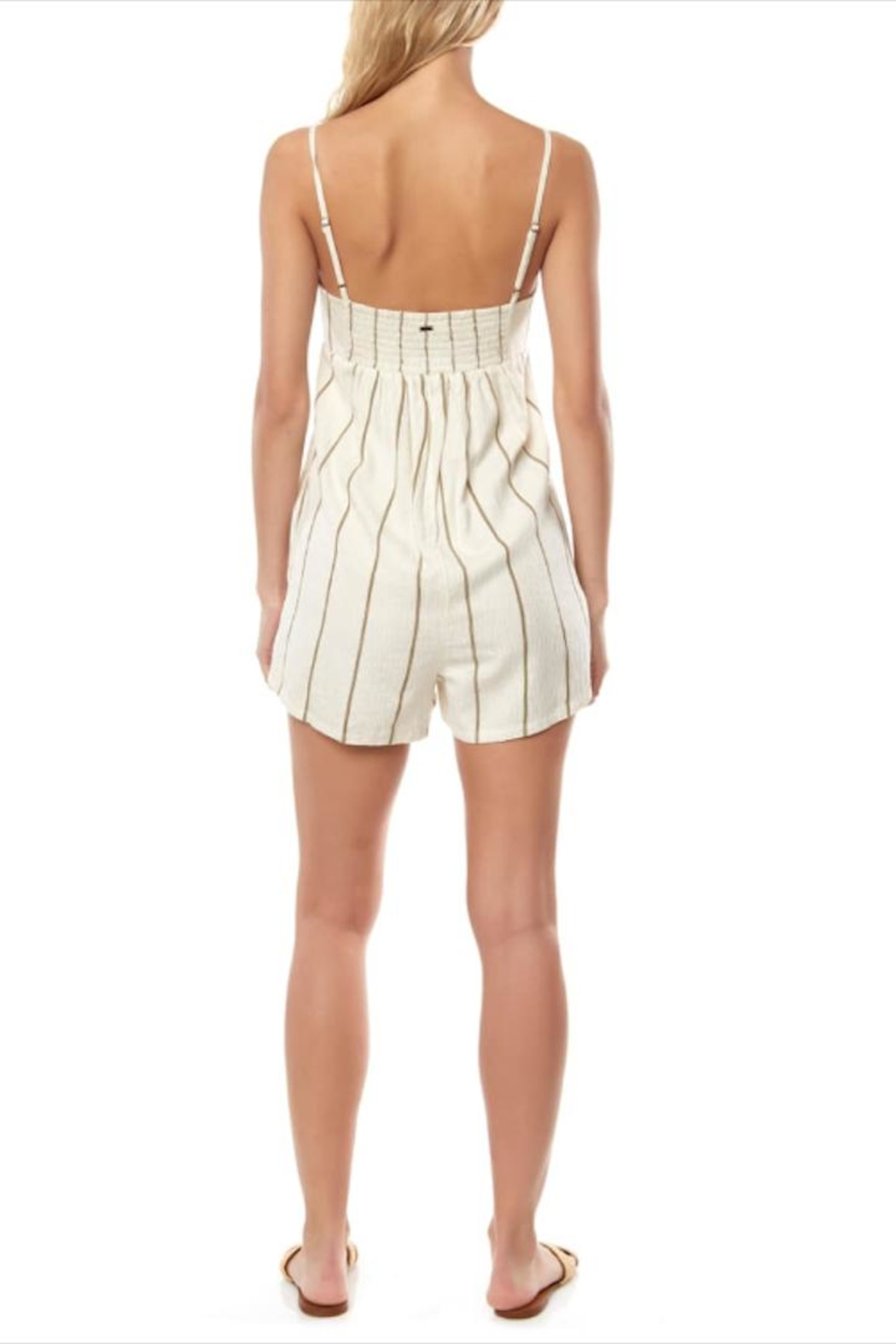 O'Neill Olive Striped Romper - Front Full Image