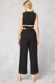 Style U O Ring Jumpsuit With V Neck - Side cropped