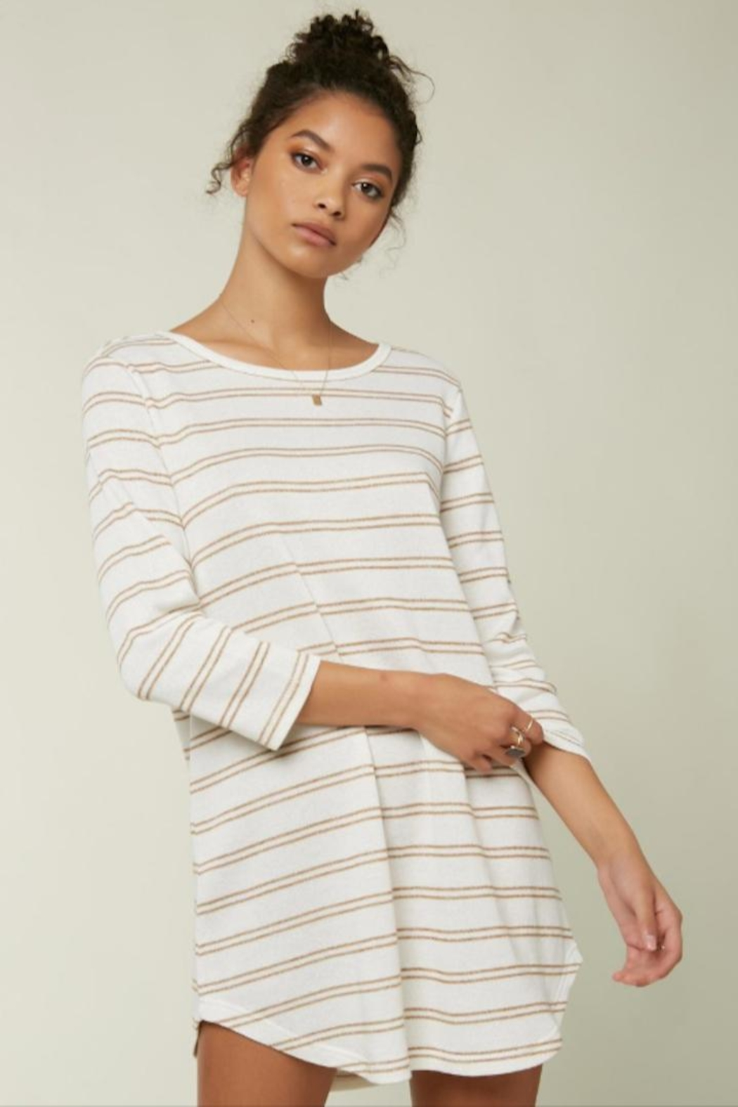 O Neill Off-White Striped Tunic - Main Image