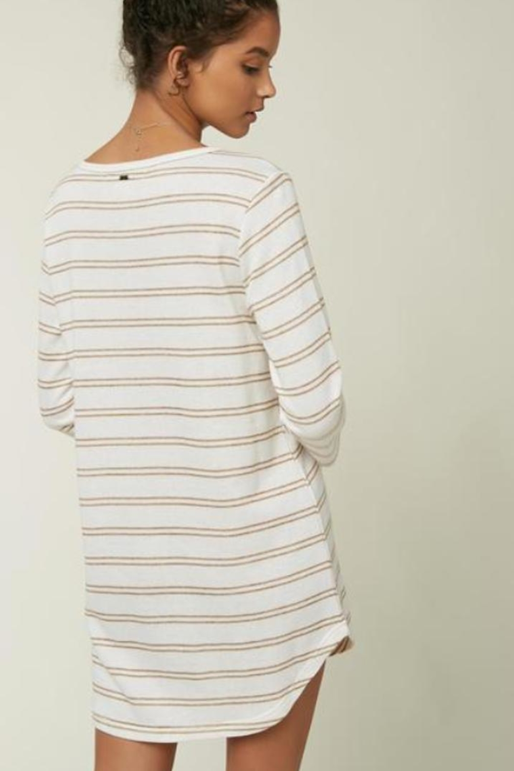 O Neill Off-White Striped Tunic - Front Full Image