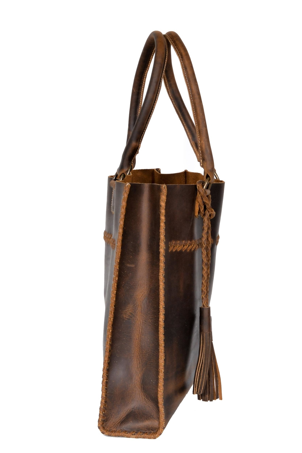 Oak River Company Leather Braided Tote - Back Cropped Image
