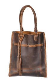 Oak River Company Leather Braided Tote - Front cropped