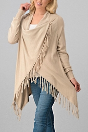 Trend:notes Oatmeal-Colored Fringe Cardigan - Product Mini Image