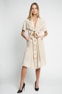 LoveRiche Oatmeal Cut-Out Dress - Product List Image