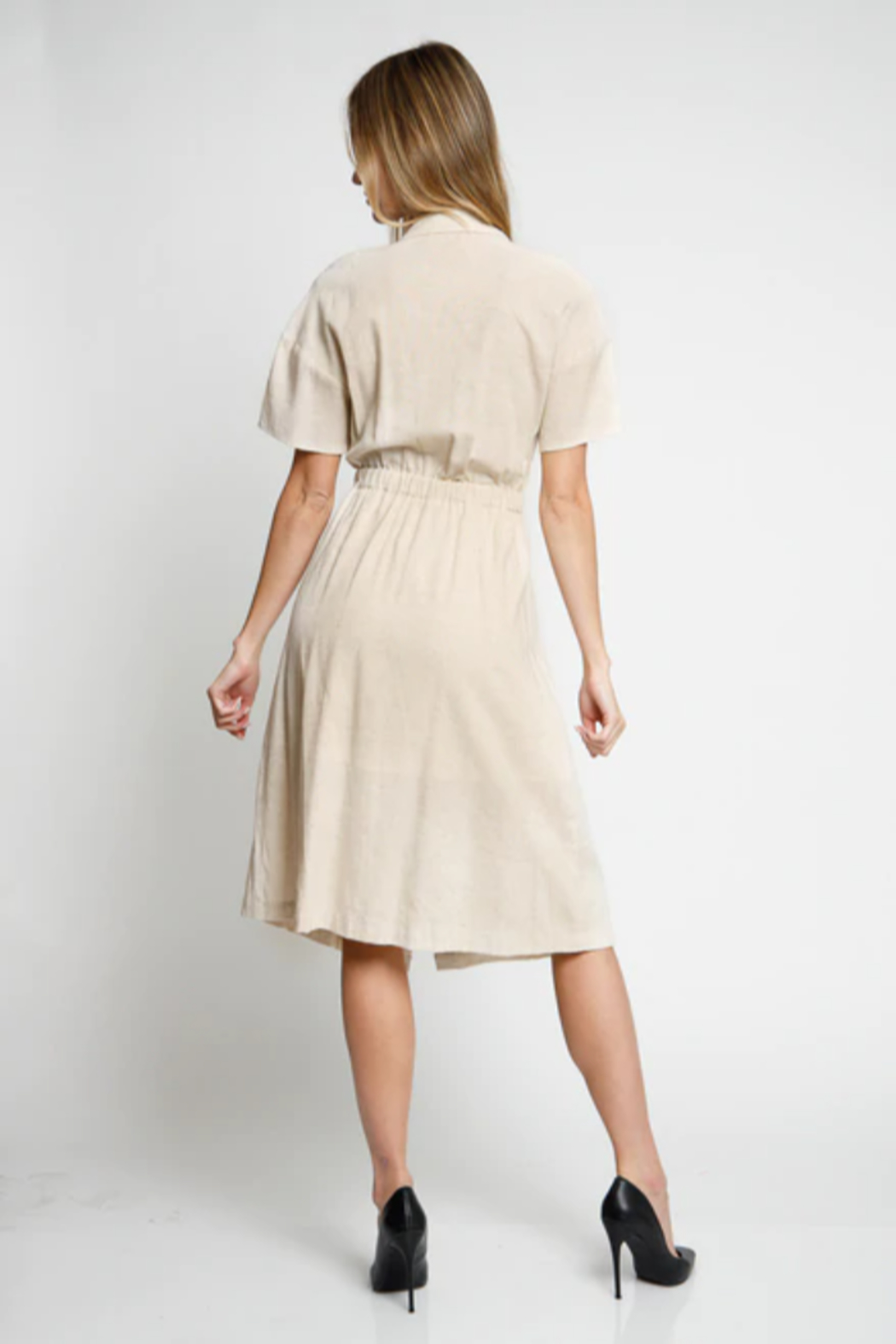 LoveRiche Oatmeal Cut-Out Dress - Front Full Image