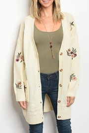 LoveRiche Oatmeal Floral Cardigan - Product Mini Image