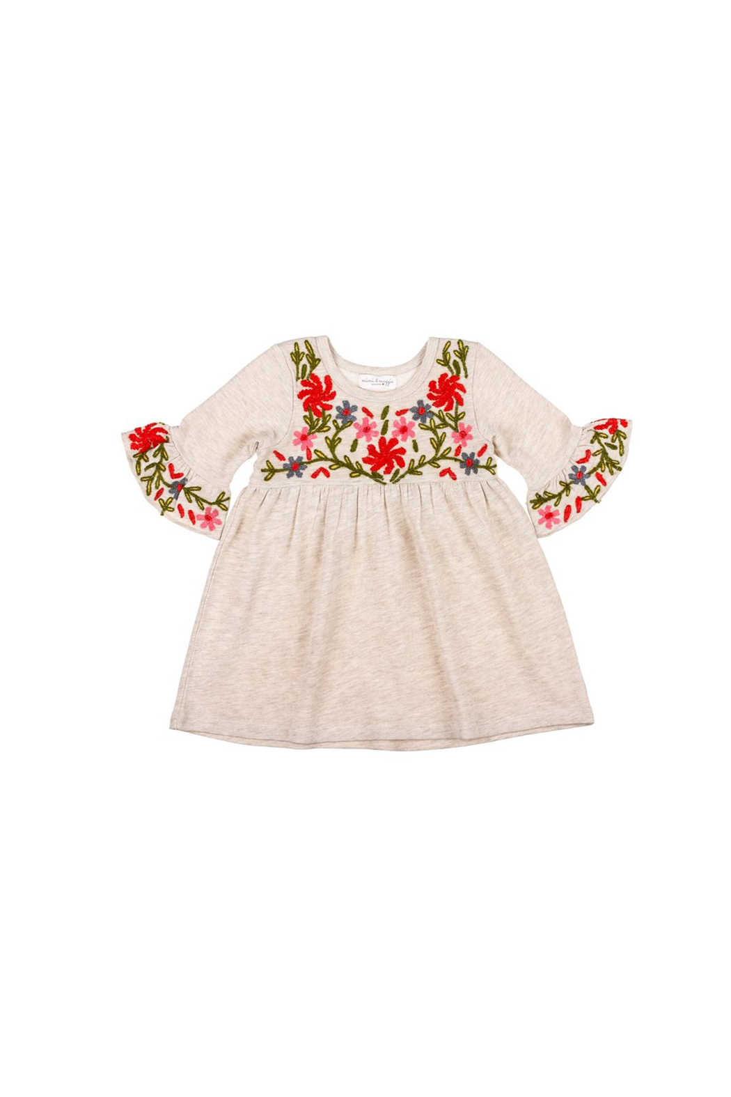 Mimi & Maggie Oatmeal Flowers Embellish Knit Dress - Main Image