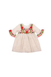 Mimi & Maggie Oatmeal Flowers Embellish Knit Dress - Front cropped