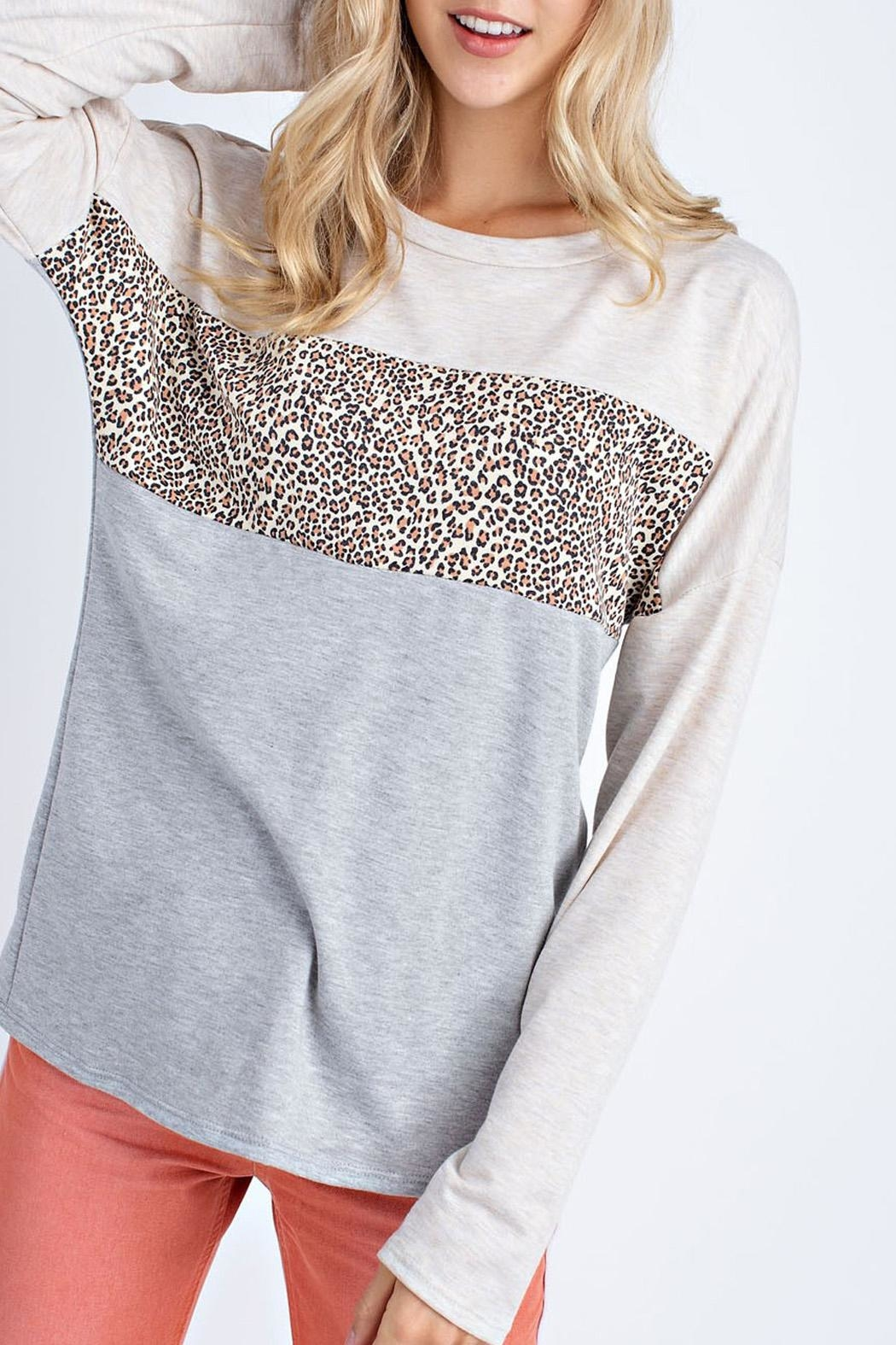 12pm by Mon Ami Oatmeal Leopard Sweater - Main Image